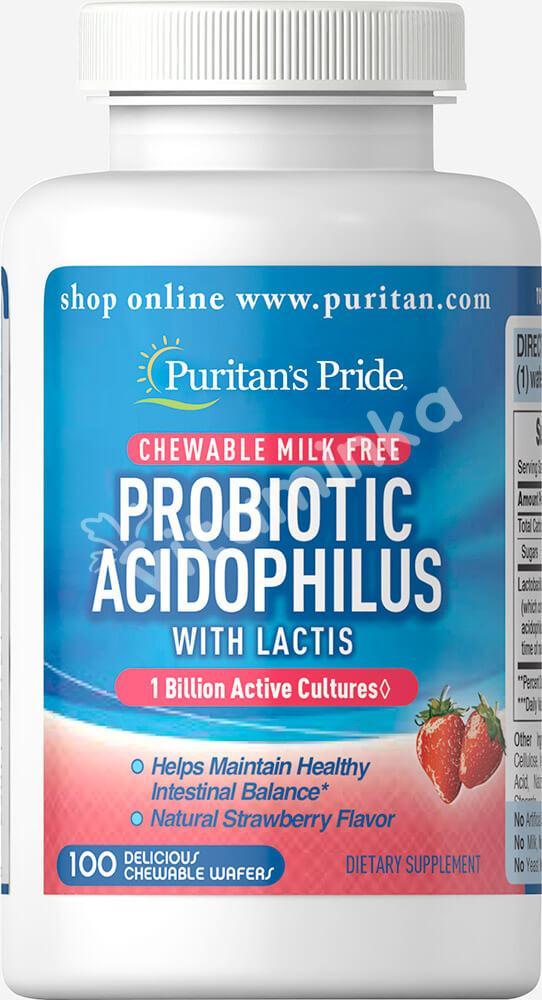Пробиотик, ацидофильньные лактобактерии, со вкусом клубники, Puritan's pride, 100 жевательных конфет