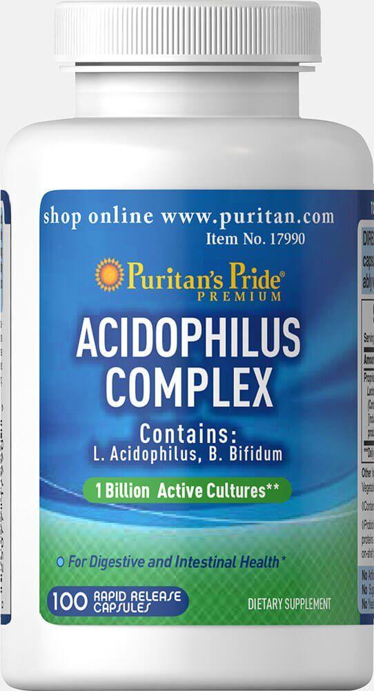 Комплекс ацидофильных пробиотиков, Puritan's pride, 100 капсул