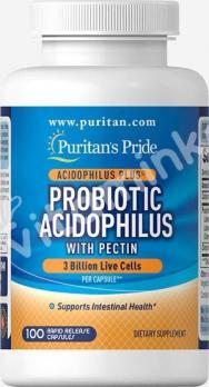 Комплекс ацидофильных пробиотиков с пектином, Puritan's pride, 100 капсул