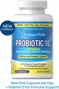 Пробиотики, 20 миллиардов живых культур, Probiotic-10, Puritan's pride, 120 капсул