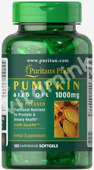 Масло семян тыквы, 1000 мг., Puritan's pride, 100 капсул