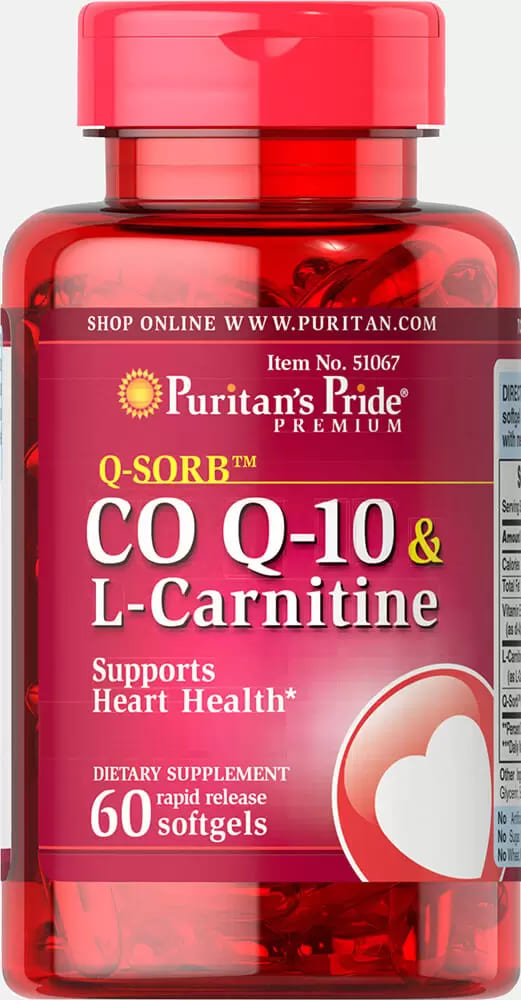 Коэнзим Q-10, 30 мг. с L-карнитином 250 мг., Q-SORB, Puritan's pride, 60 капсул