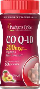 Коэнзим Q-10, Q-SORB, 200 мг., вкус персик-манго, Puritan's pride, 60 желатиновых конфет
