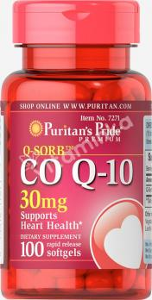 Коэнзим Q-10, Q-SORB, 30 мг., Puritan's pride, 100 капсул