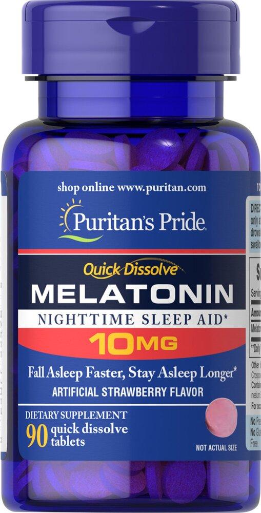 Быстрорастворимый мелатонин, 10 мг., клубничный вкус, Puritan's pride, 90 таблеток