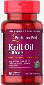 Жир красного криля, 500 мг., (86 мг. активной омега-3), Puritan's pride, 30 капсул
