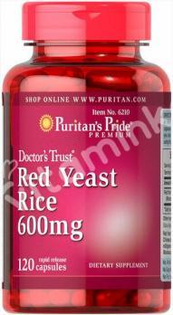 Экстракт красного дрожжевого риса, 600 мг., Puritan's pride, 120 капсул