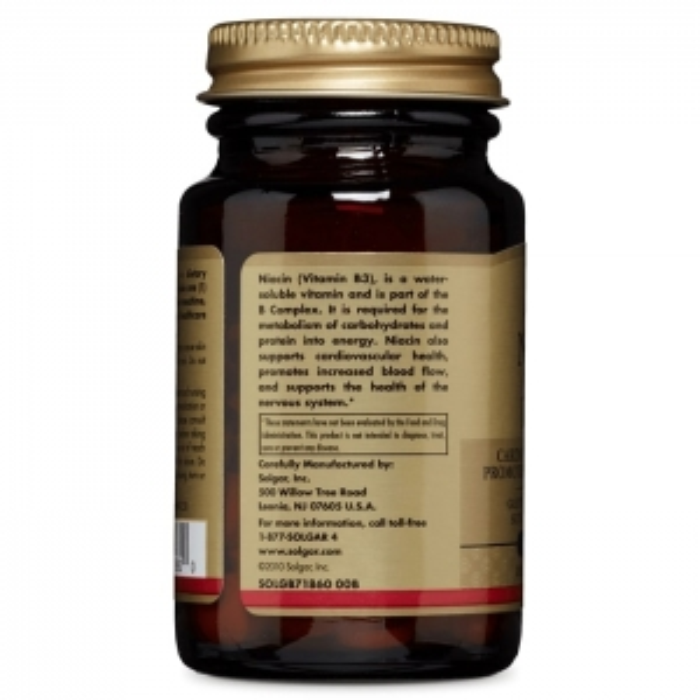 Витамин В3, ниацин, Solgar, 100 мг, 100 табл.