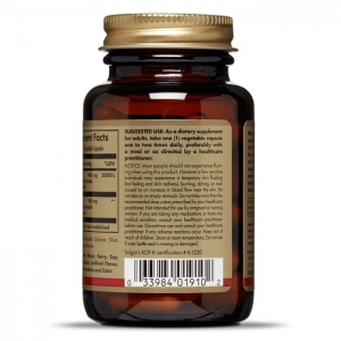 Ниацин, No-Flush, Solgar, 500 мг, 50 капсул
