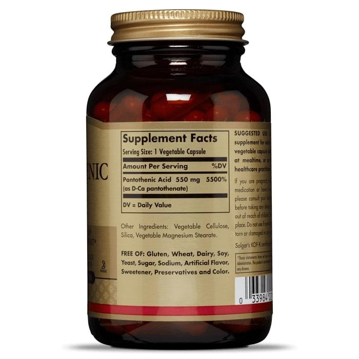Пантотеновая кислота, Solgar, 550 мг, 100 капсул