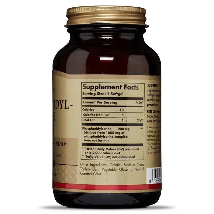 Фосфатидилсерин, Solgar, 200 мг, 60 капсул