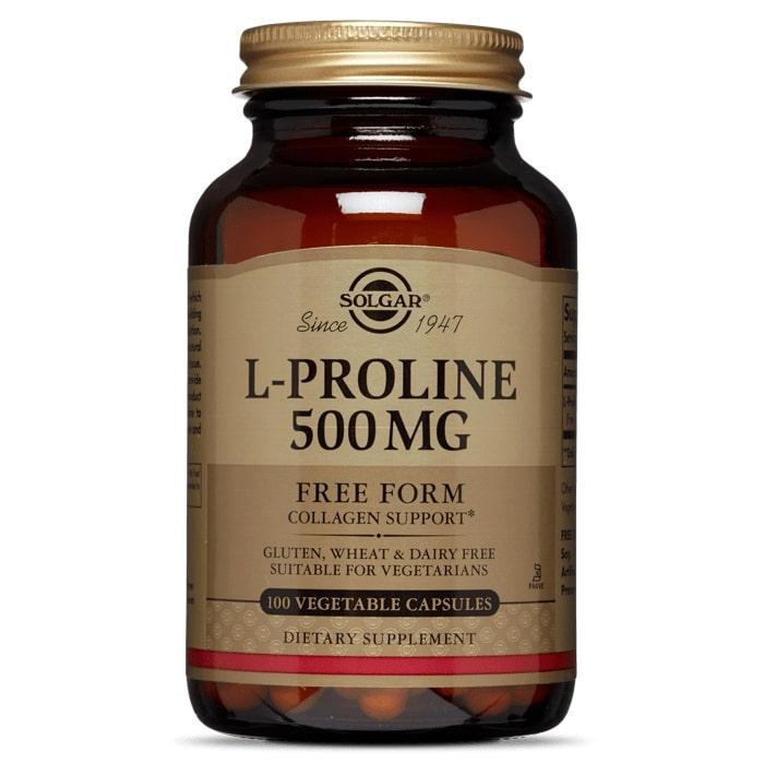 L-пролин, Solgar, 500мг, 100 капсул