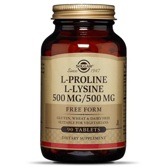 L-пролин/ L-лизин, 500мг/500мг, Solgar, 90 таб.