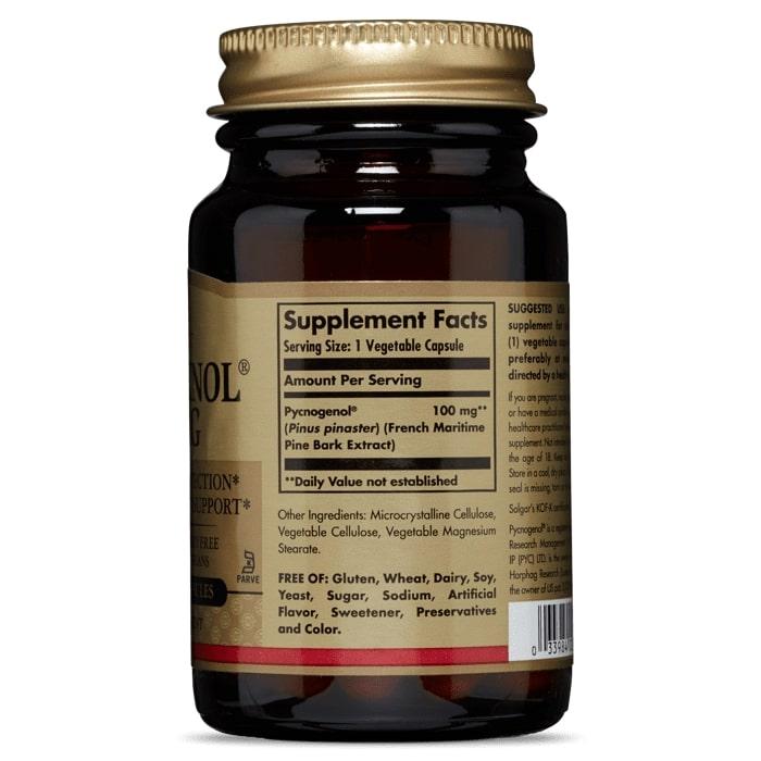 Пикногенол, Solgar, 100 мг, 30 капсул.