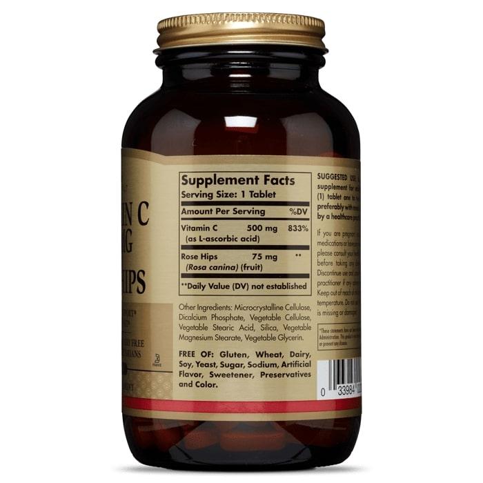 Витамин C, биофлавоноиды, шиповник,  Solgar, 500 мг, 250 таблеток