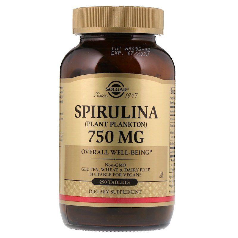 Спирулина, Solgar, 750 мг, 250 таблеток