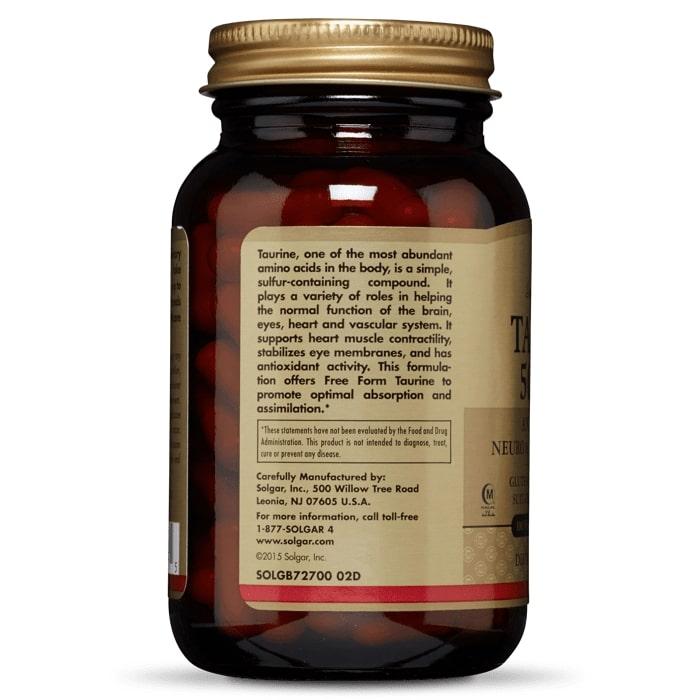 Таурин, Solgar, 500 мг, 100 капсул