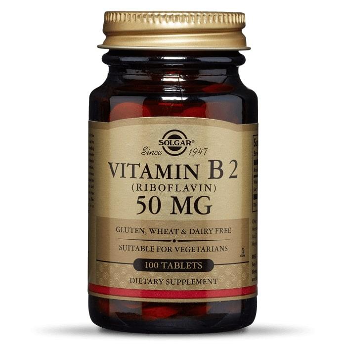 Рибофлавин, витамин B2, Solgar, 50 мг, 100 таблеток