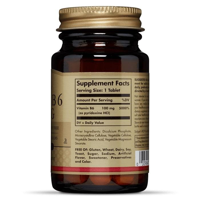 Витамин В6, Solgar, 100 мг, 100 таблеток