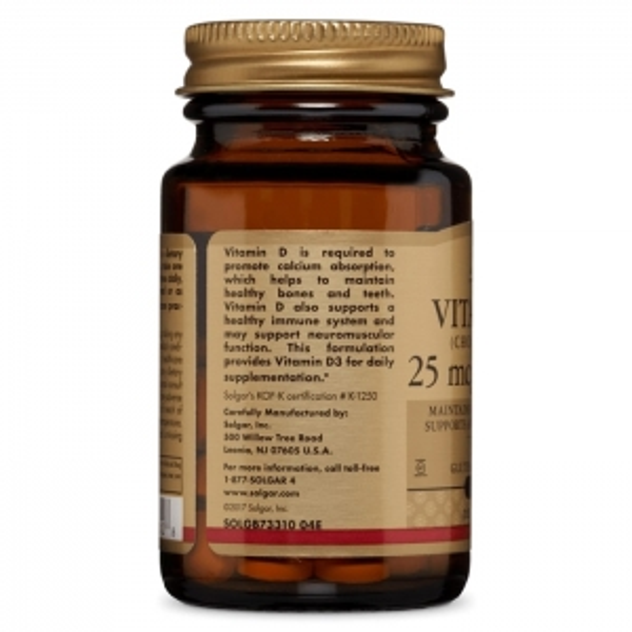 Витамин D3, 1000 ME, Solgar, 25 мкг