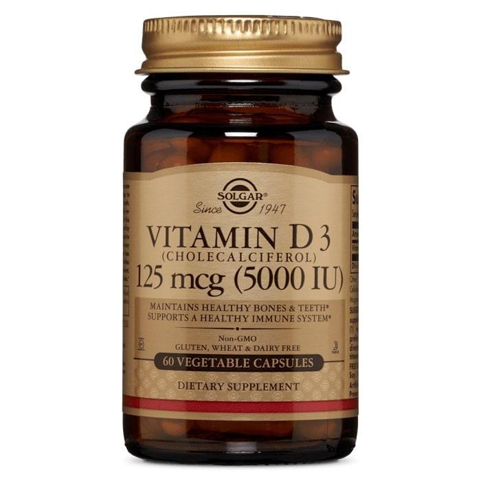 Витамин Д3, 5000 МЕ, Solgar, 125 мкг.