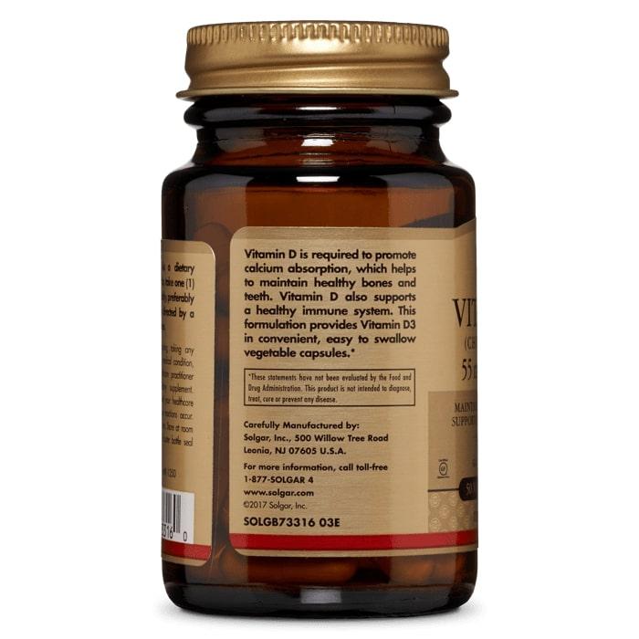 Витамин Д3, 2200 ME, Solgar, 55 мг.