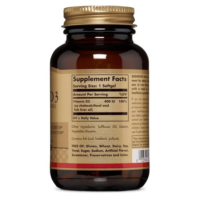Витамин Д3, Solgar, 400 МЕ