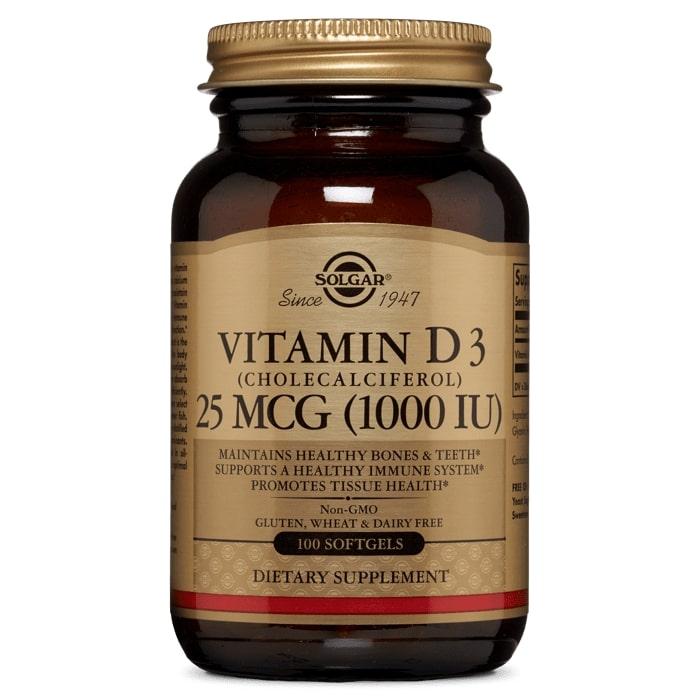 Витамин D3, Solgar, 1000 МЕ