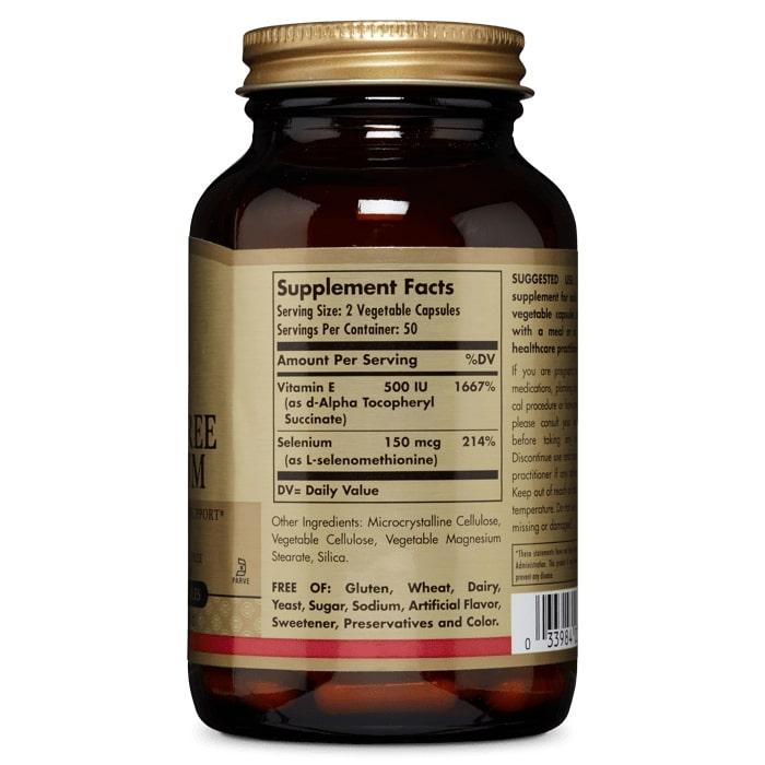 Витамин Е, Solgar, с селеном, 100 капсул