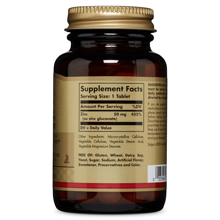 Глюконат цинка, Solgar, 50 мг, 100 таблеток