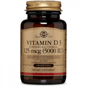 Витамин Д3, Solgar,  5000 МЕ, 100 гелевых капсул