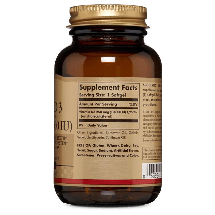 Витамин Д3, Solgar, 10000 МЕ, 120 гелевых капсул