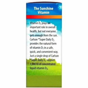Витамин Д3, Carlson Labs, 1000 МЕ, Super Daily D3, 10.3 ml