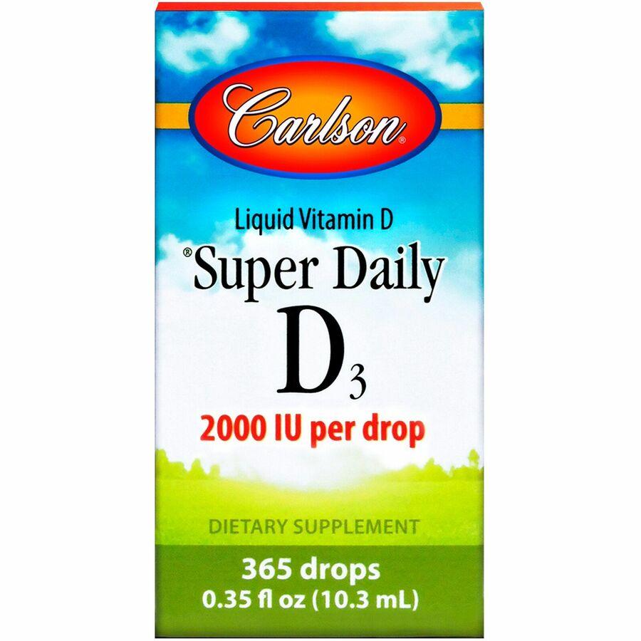 Витамин D 3, Carlson Labs, Super Daily 2,000 IU, 10.3 ml