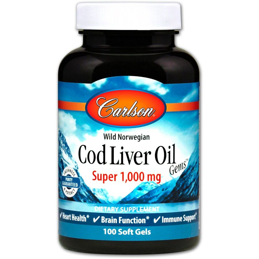 Рыбий жир из печени трески, Carlson Labs, 1000 мг.