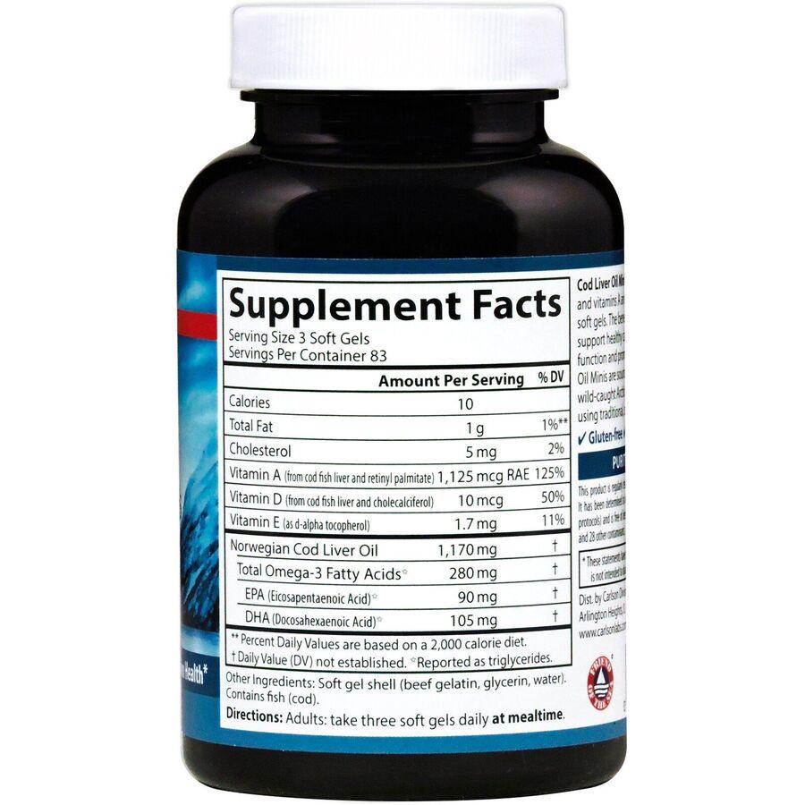 Норвежский рыбий жир, Cod Liver Oil, Carlson Labs, 390 мг, 250 гелевых капсул