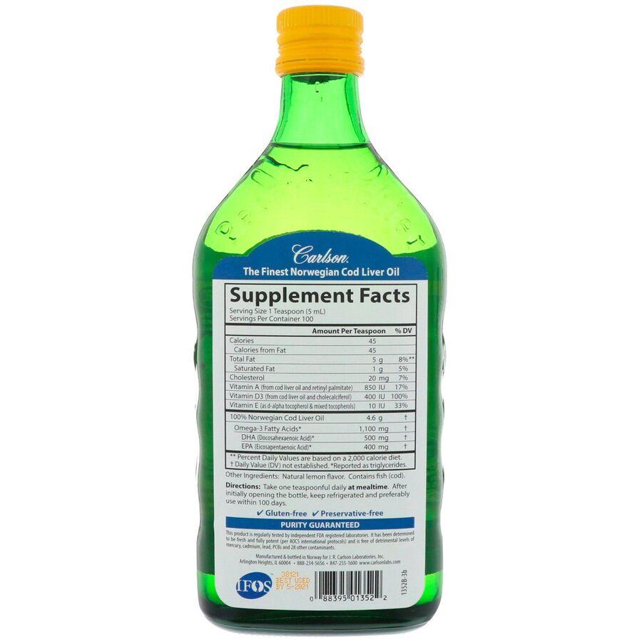 Рыбий жир из печени трески, Carlson Labs, лимон, 500 мл