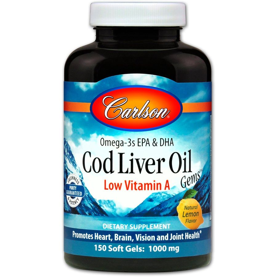 Рыбий жир из печени трески, Carlson Labs, 1000 мг, 150 капсул