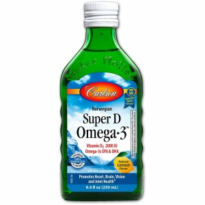 Витамин D3 с омега 3, Carlson Labs, с лимоном, 250 мл