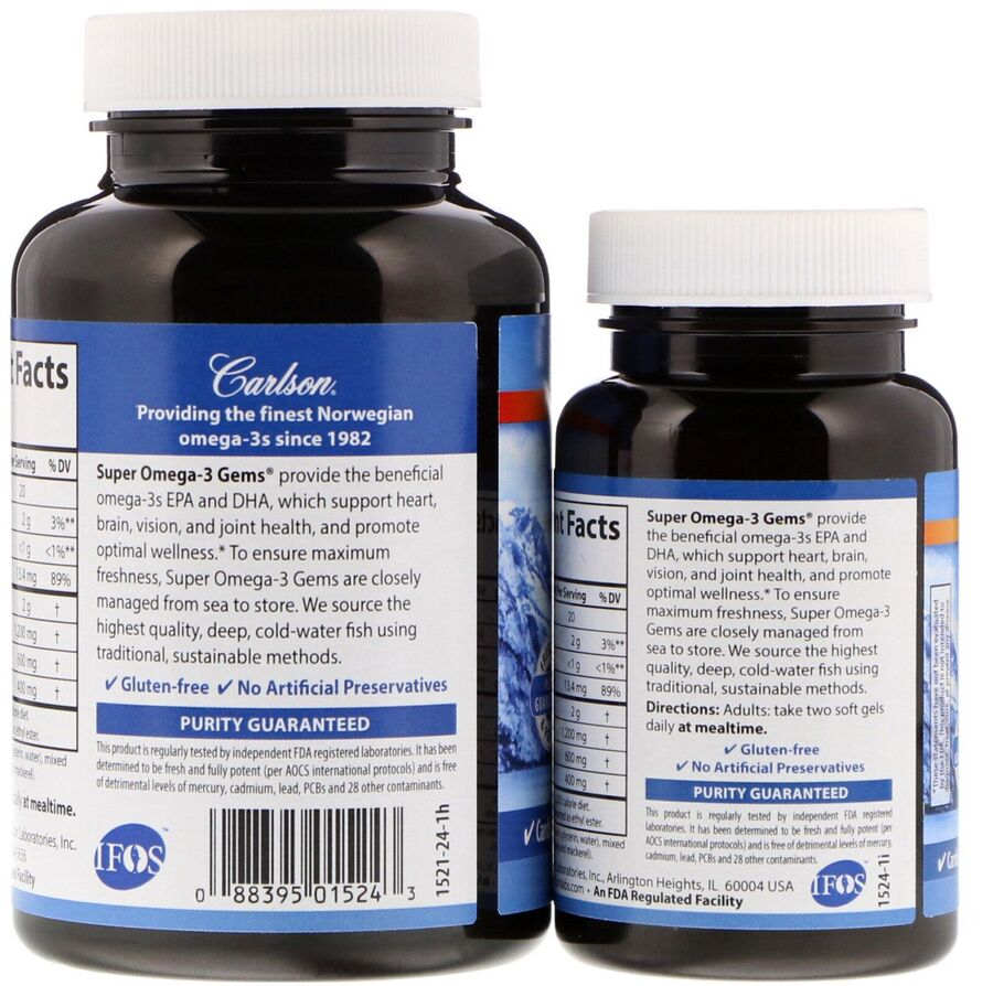 Омега 3, Carlson Labs, 1200 мг, 100+30 капсул