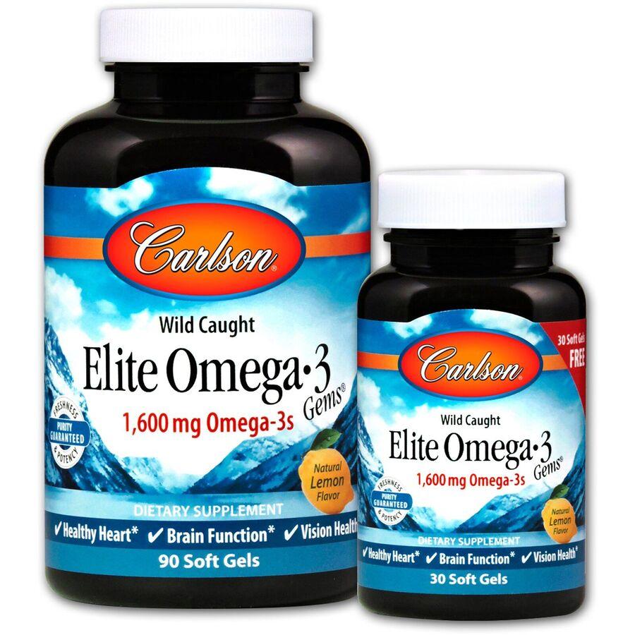 Омега-3, вкус лимона, Carlson Labs, 1600 мг.