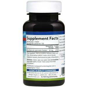 Цинк хелатный, Chelated Zinc, Carlson Labs, 30 мг