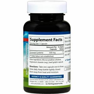 N-ацетинцистеин, N-A-C, Carlson Labs, 500 мг, 60 капcул