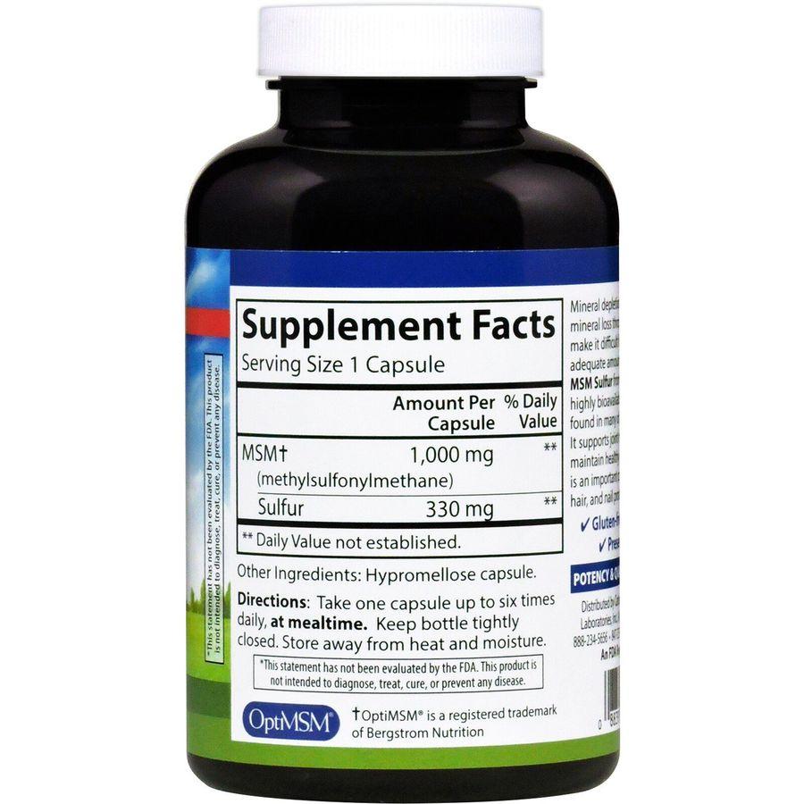 MSM Sulfur, метилсульфонилметан, Carlson Labs, 1,000 mg, 180 капсул
