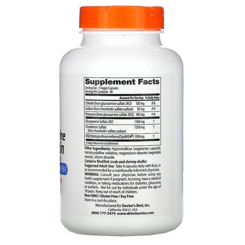 Глюкозамин, хондроитин, MSM, Doctor's Best