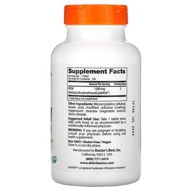 Метилсульфонилметан, МСМ, Doctor's Best, 1500 мг., 120 таблеток