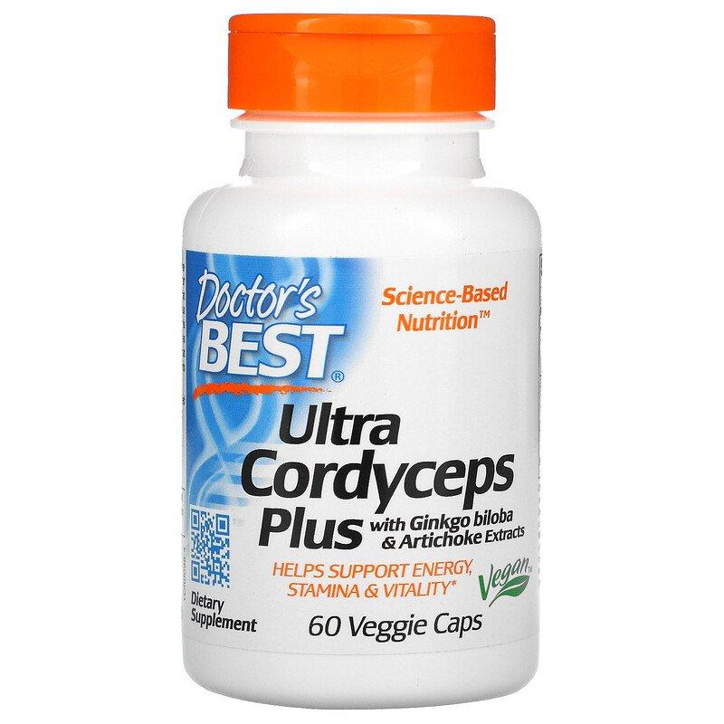 Лечебные грибы кордицепс с гинкго билоба и экстрактом артишока, Doctor's Best, 60 капсул