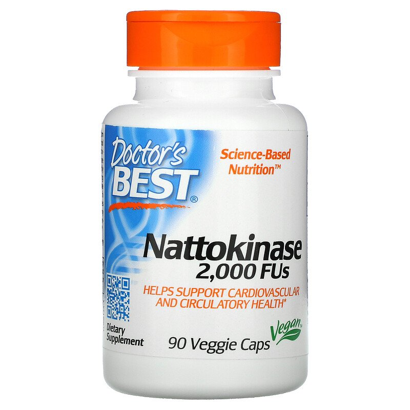 Наттокиназа, 2,000 FUS, Doctor's Best, 90 капсул
