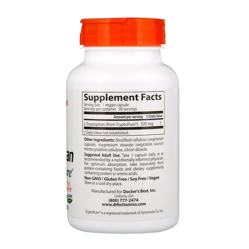 L-триптофан, Doctor's Best, 500 мг, 90 капсул