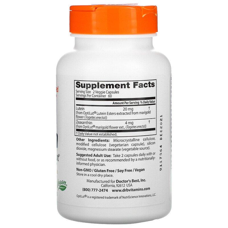 Лютеин, Doctors Best, 20 мг, 120  капсул
